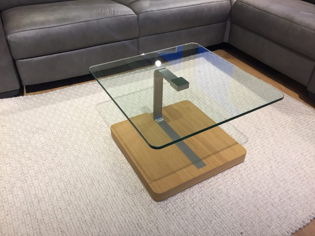David Salmon Clear Glass / Oak Lamp Table