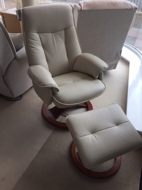 David Salmon Nordic Leather Swivel Chair & Stool.