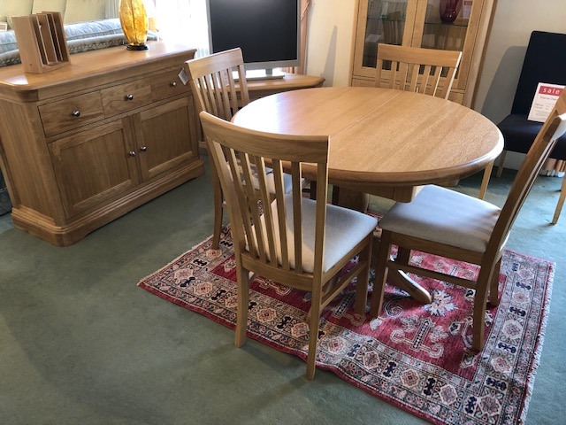 David Salmon Lyndhurst Round Table, Small Sideboard & 4 Chairs